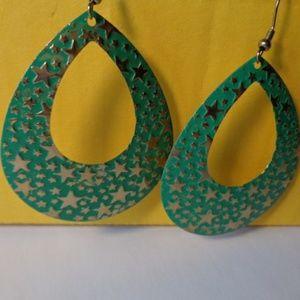 Big large dangle star hook style earrings